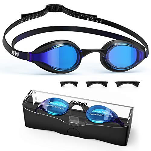 Aegend Swim Goggles, Swimming Goggles with 4 Sizes Nose Bridges UV Protection Varied Color Lens No Leaking Anti Fog Crystal Triathlon Training for Adults Men Women Youth Kids,Black Blue