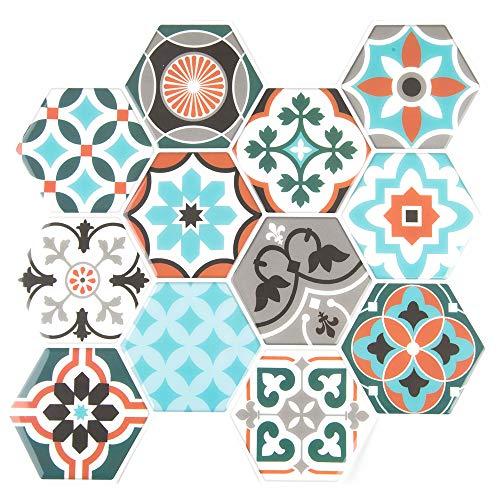 Unishop Set 6 Láminas de Azulejos Adhesivos Hexagonales para Pared, Efecto 3D e Impermeables, Vinilo Decorativo de Mosaicos con Pegatina para Cocina y Baño (Tipo 2)