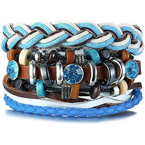 chaosong shop Juego de 3 pulseras de cuero trenzadas de múltiples capas con cordón de cristal