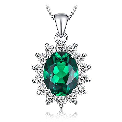 JewelryPalace 2.1ct Prinzessin Grün Simulierte Nano Russischen Smaragd Anhänger Halskette Kette 925 Sterlingsilber
