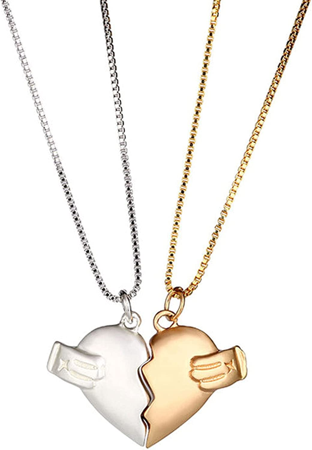 Scddboy Heart Pendant Necklaces for Couple, Matching Magnetic Necklaces for Best Friends