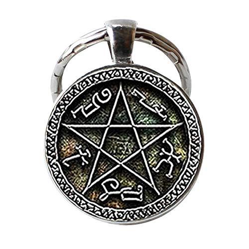 Diablos trampa pentagrama llavero hecho a mano, joyería fotográfica de cristal vintage