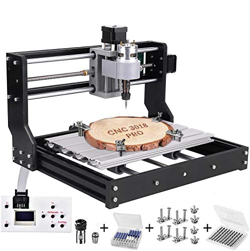 CNC 3018 Pro Engraving Machine Kit, TOPQSC Upgraded Router Engraver Machine GRBL Control Router Kit 3 Axis Plastic Acrylic PVC Wood Carving Milling Engraving Machine