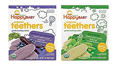Happy Baby Organic Teethers Gentle Teething Wafers 2 Flavor Sampler Bundle: (1) Pea & Spinach Teething Wafers, and (1) Blueberry & Purple Carrot Teething Wafers, 1.7 Oz. Ea.
