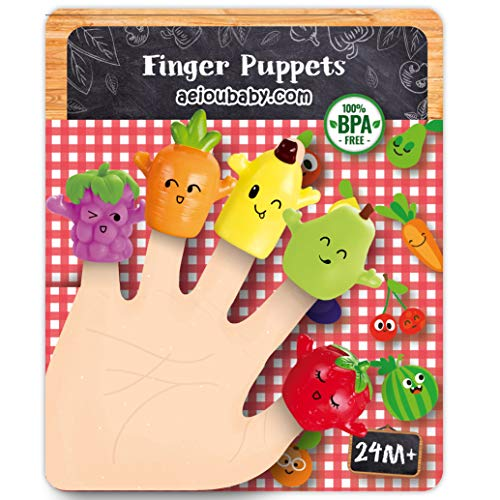 aeioubaby.com Marionetas de Dedo para niños y bebés   5 Frutas y Verduras   Títeres de PVC Sin BPA   Juguetes para el baño   Muñecos de Mano, Cuentos