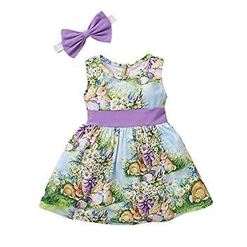Easter Dresses for Baby Girls Toddler Girls Sleeveless Bunny Easter Egg Printed Dress Headband Set  Multicolor 18-24 Months