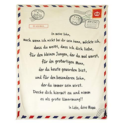DYJD Briefdecke,An Sohn/Tochter Mama Flanelldecke Hoffe Sie Kann Dem Leben Positiv Begegnen Und Die Welt Für Das Leben Im Schlafzimmer Lieben,Sohn,150 * 220cm