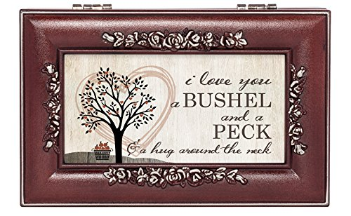 Cottage Garden Love You Bushel Peck Hug Rosewood Jewelry Music Box Plays You are My Sunshine