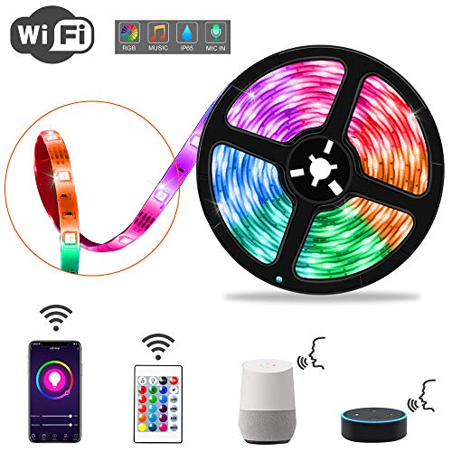 LXMIMI Striscia LED WiFi, Strisce LED 5M, Striscia Luminosa LED SMD 5050 RGB IP65 Impermeabile, La Striscia LED Multicolore Supporta il Cambio Colore Compatibile con Alexa [Classe Energetica A ++]