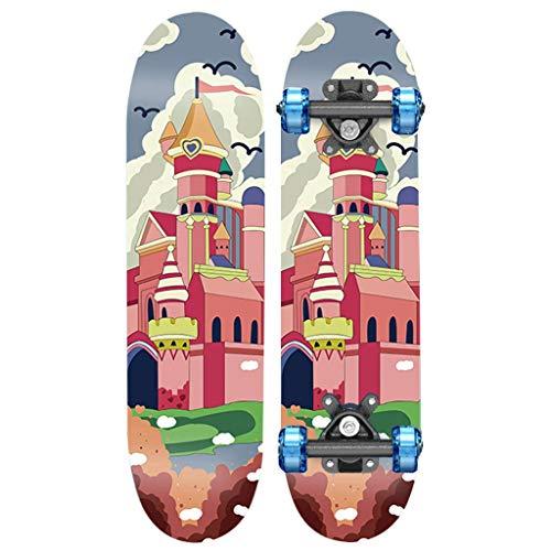 Skateboarden Ahorn Kinder-Double-Tilt Dicke Stoßdämpferhalterung, Matte Oberfläche Straßenblitzrad 6-12 Jahre Alte Kinder (Color : D, Size : 79 * 20cm)