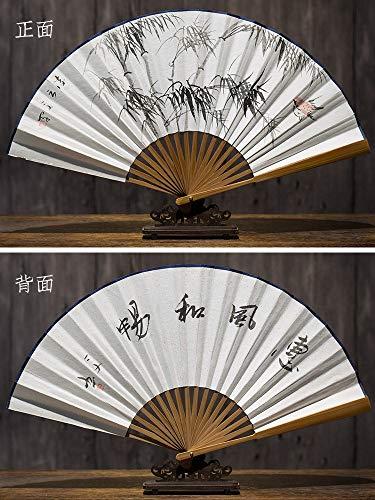XIAOHAIZI Folding Fan Zomer Chinese Klassieke Handbeschilderde Groene Bamboe Linyun Tweezijdige Ventilator Oude Wind Tweezijdig Rijstpapier Folding Fan Vrouwelijke Ventilator Man Ventilator