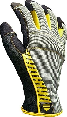 Grease Monkey Original Pro Tool Handler Mechanic Gloves with Touchscreen Capabilities, Yellow/Gray, Medium