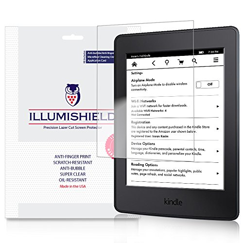 iLLumiShield Screen Protector Compatible with Amazon Kindle Paperwhite 6 inch 2015 (WiFi 3G Compatiblity)(3-Pack) Clear HD Shield Anti-Bubble and Anti-Fingerprint PET Film
