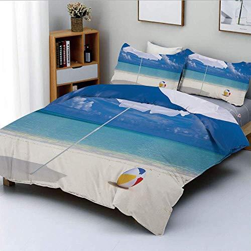 Juego de funda nórdica, temporada de verano Vibes Seashore Ocean View Sunny Ball Waves Sands Artwork Juego de cama decorativo de 3 piezas con 2 fundas de almohada, azul aguamarina, blanco crema, el me