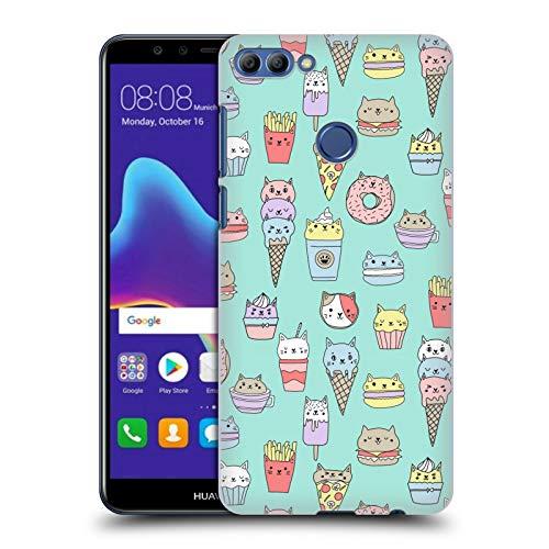 Officiële Andrea Lauren Design Kattenvoer Voedsel Patroon Hard Back Case Compatibel voor Huawei Y9 2018 / Enjoy 8 Plus