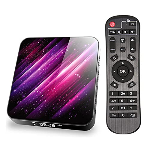 HBOY Caja De TV Android 9.0, Decodificador De TV Inteligente WiFi Bluetooth 4GB RAM 32GB ROM 6K 3D Reproductor De Decodificador De Red HD Android