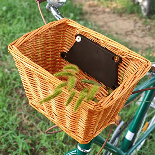 SXFYHXY Wicker Bike Basket, Portable Hand-woven Shopping Basket Folk Craftsmanship Bicycle Handlebar Storage Basket