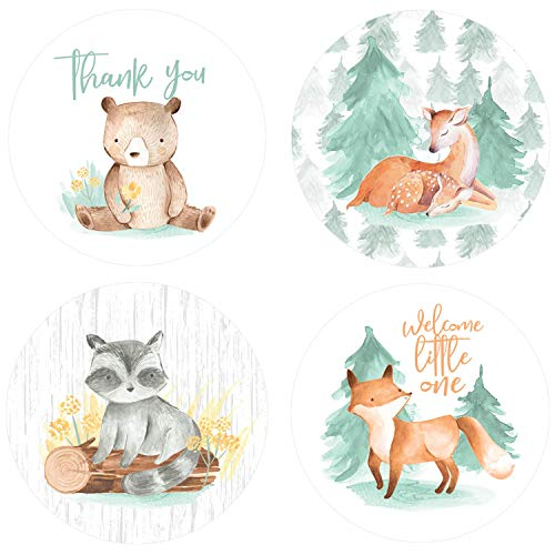 Woodland Baby Shower Thank You Stickers, Watercolor Creatures, 1.75in, 40 Labels
