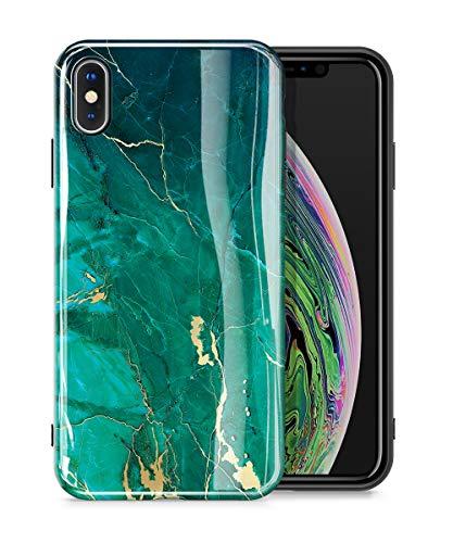"""GVIEWIN iPhone X Hülle iPhone XS Hülle, Marmor TPU Schlank Rundumschutz iPhone 10 Handyhülle Marble 10s Handytasche ultradünn 10xs Schutzhülle Case Cover 5.8\"""" 2018 (Grün/Golden)"""