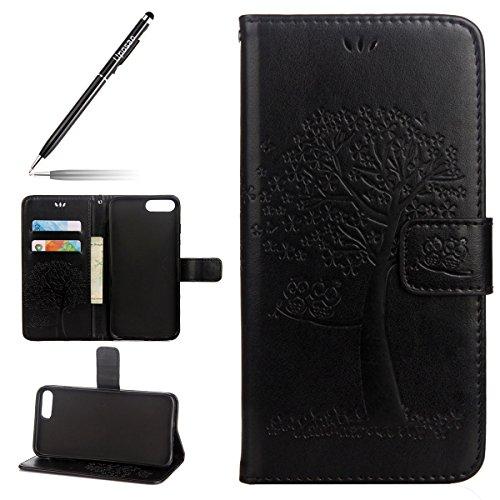 Uposao Kompatibel mit iPhone 8 Plus 5.5 Handytasche Bookstyle Klappbar Flip Hülle Cover Tasche Leder Brieftasche Etui Lederhülle Leder Handy Schutzhülle mit Magnetverschluss,Schwarz