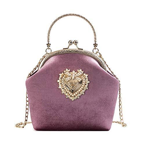 Bolso bandolera para mujer, bolso de viaje de terciopelo vintage, clip Cheongsam portátil JIADUOBAO, Pink (Rosa) - JERPOZ