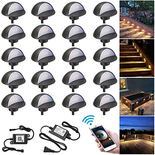 WiFi Deck Lights Kit, FVTLED WiFi Controlled 20pcs Low Voltage LED Step Lights Kit Φ1.97