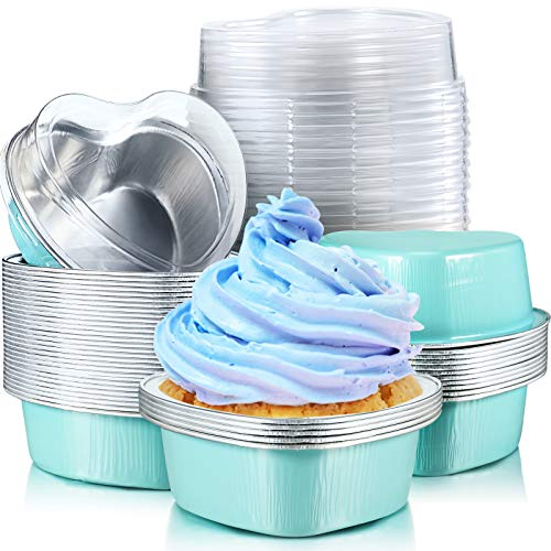 Aluminum Foil Cake Pan Heart Shaped Cupcake Cup with Lids 100 ml/ 3.4 Ounces Disposable Mini Cupcake Cup Flan Baking Cups for Valentine Mother's Day Wedding Christmas Birthday (Blue,40 Sets)