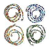 Zeaye Cordón de cristal de 4 piezas, una cómoda cadena de cristal con clip, adecuado para hombres, mujeres, niñas, niños y ancianos.