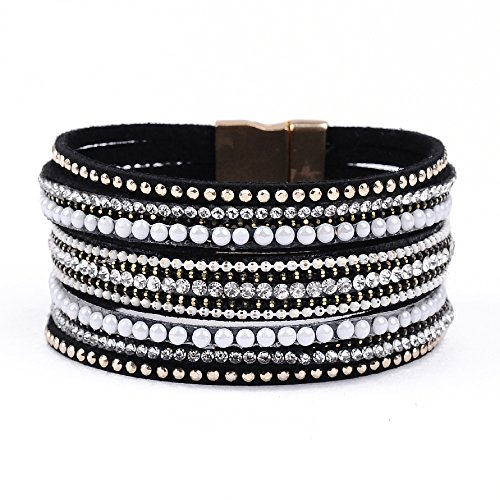 Artilady shinning wrap clasp bangle for women (Black)