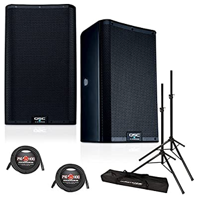 QSC K8.2 8-Inch 2000 Watt Powered PA Speakers (PAIR) w/XLR Cables & Speaker Stands by QSC