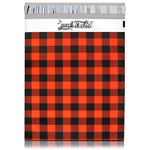 Pack It Chic - 10 x 13 (100 unidades) Red Buffalo Plaid Poly Mailer Envelope Plastic Custom Mailing & Shipping Bags - Self Seal