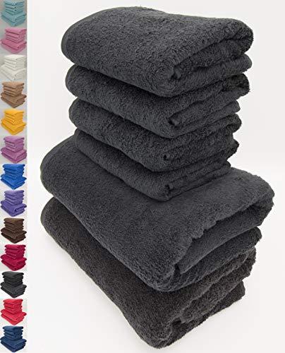 Handtuch-Set, 100 {9711e6e97244e354345b625a4f0b8be60752ebbabbbbd4554af2a7e4ad19e742} natürliche Baumwolle, 500 g/m², saugfähig, Hotelqualität, ringgesponnen, 70 x 140 cm Badetücher und 50 x 90 Handtücher, baumwolle, Schwarz , 2 Bath + 4 Hand Towels