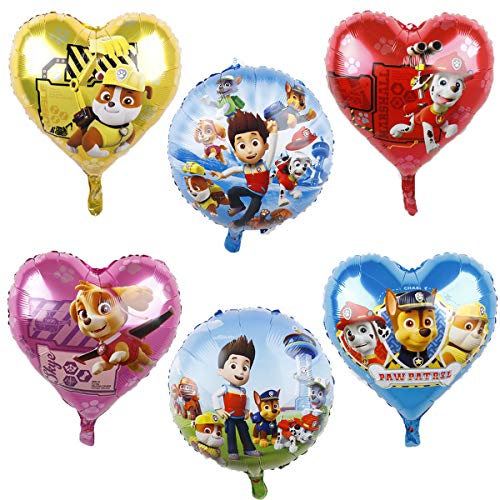 WENTS Ballon XXL Folienballon Luftballon Paw Patrol Hund Kindergeburtstag Deko Paw Patrol Geburtstag Fellfreunde Luftballons Dekoration Set Happy Birthday Deko-Luftballon Balloons, 6pcs