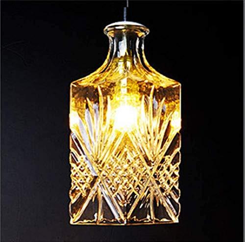 SKSNB Lámpara de araña de una Sola Cabeza de Cristal de Botella de Vino Tallada nórdica, Minimalista Moderno, Personalidad Creativa, iluminación de Restaurante para Invitados de Moda, D
