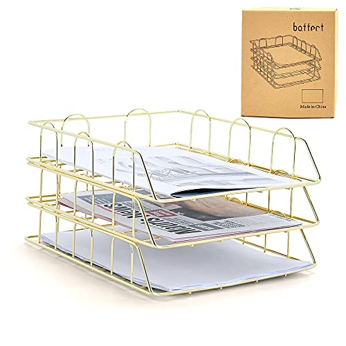 Baffect Soporte de bandejas de archivo A4 apilable de 3 niveles, bandejas de archivo de letras Bandeja de papel de metal Bandeja Organizador de archivos Documento Papel de carta para oficina (Oro)
