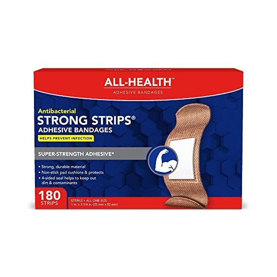 All Health Strong Strips Antibacterial Heavy-Duty Adhesive Bandages, 1 Inch (180 Count) 1 First aid bandages with super-strength adhesive stay in place on most skin types Antibacterial bandage kills bacteria to help prevent infection Non-stick pad cushions and helps protect minor cuts, scrapes, and wounds