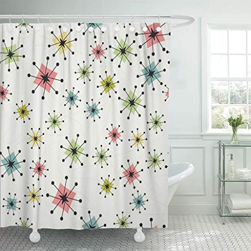 Emvency Shower Curtain Vintage Atomic Stars Retro Pattern on of Boomerangs Mid Centry Waterproof Polyester Fabric 72 x 72 inches Set with Hooks