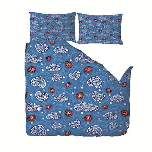 JNBGYAPS Duvet Cover Set with 2 Pillowcases Red ladybug and heart pattern Zipper Closure Printed Duvet Quilt Cover Complete Bedding Sets Suitable for adults and children. Double:200x200cm