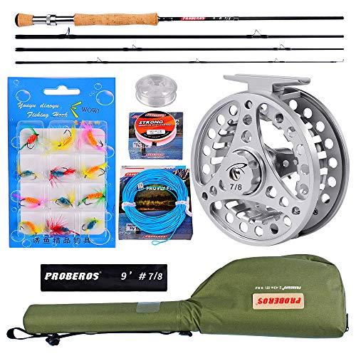 PROBEROS Pesca con Mosca Combo De Caña Y Carrete - Pesca con Mosca Kit Completo - 4-Piezas 2.7m Caña + 7/8wt Carrete De La Mosca con Bolsa De Transporte