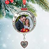 BANBERRY DESIGNS Wedding Ornament - 1st Christmas as Mr. and Mrs. EST 2021 - Red and Green Picture Ornament Shaped Like an Ornament Bulb - Our First Christmas Marriage Husband Wife Married