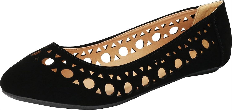 Cambridge Select Women's Closed Round Toe Geometric Cutout Slip-On Ballet Flat