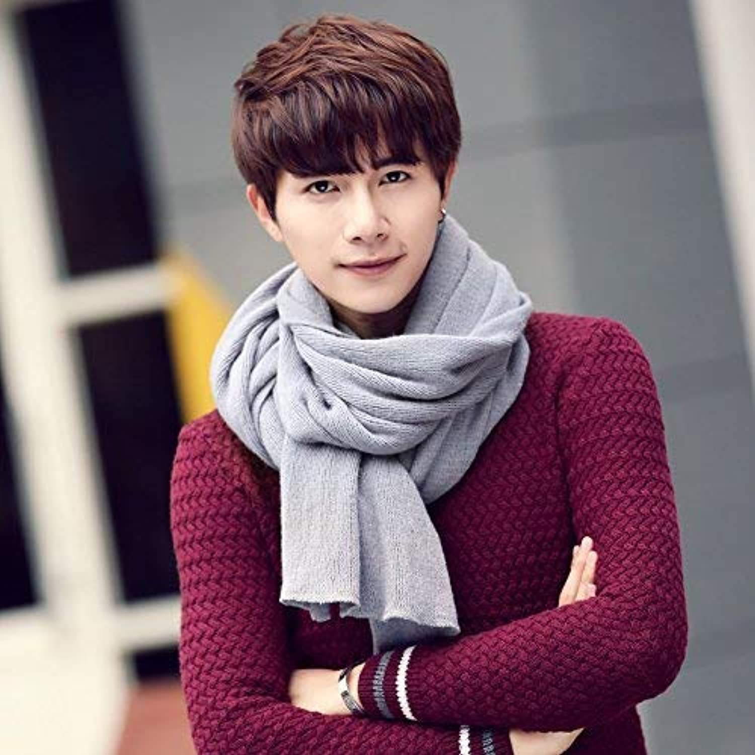 JINGB Home ScarfMen's Scarf Autumn Winter Students Solid color Knitted Thickening Warm Shawl Imitation Cashmere Scarf Female Autumn and Winter Korean Students Knitted Shawl Long (color   Six)