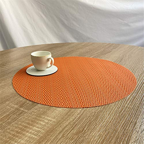 YUNSW Pure Color Pvc Round Placemat, Anti-Fouling, Oil-Proof And Heat-Insulating Western Placemat, Easy To Clean 35Cm Diameter Heat-Insulating Plate Mat, Kitchen, Living Room Garden Hotel Placemat