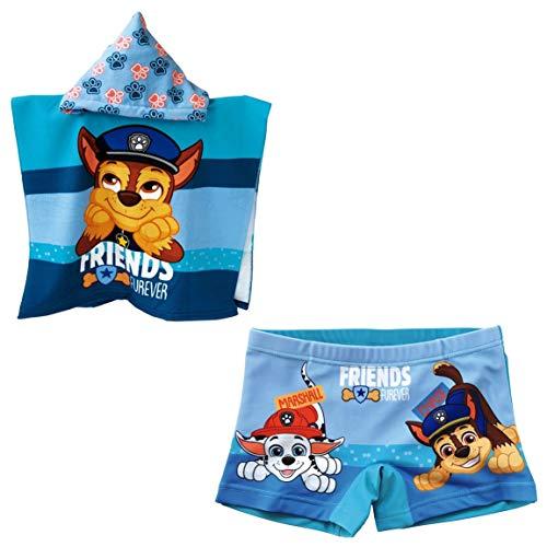Costume da bagno Paw Patrol tipo boxer per bambini + poncho Paw Patrol asciugamano per spiaggia o piscina azzurro 4 anni