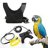 Bird Harness, Bird Leash , Adjustable Bird Harness Leash for Trainning, Black Fashion Vest, Suitable for Cockatiel,Parrot,Parakeets Conures, Macaws, Parrots, Love Birds,Finches