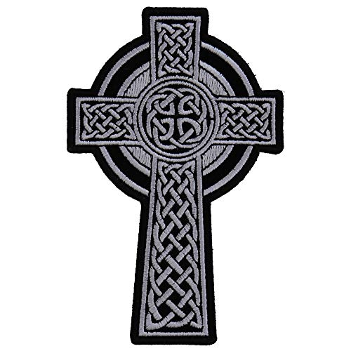 Celtic Cross Small Patch - 3x4.6 inch. Embroidered Iron on Patch