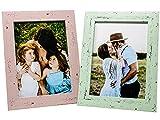Selldorado® Juego de 2 marcos de fotos de 13 x 18 cm de madera en color menta y rosa – Marco de fotos con soporte en aspecto vintage desgastado chic (A) pastel