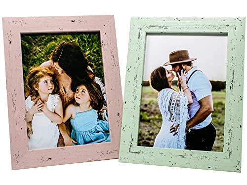 Selldorado® 2X Bilderrahmen Set 13 x18 cm aus Holz in Mint und Pink - Fotorahmen mit Standfuß im Shabby Chic Vintage Look (A) Pastell