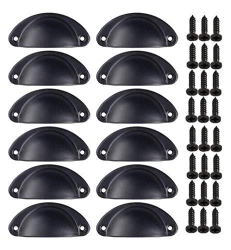 12 Stück Muschelförmiger Halbrund Retro-Knauf aus Metall für Küchenschrank, Schlafzimmer, Badezimmer, Tür, Kommode (Bronze) schwarz