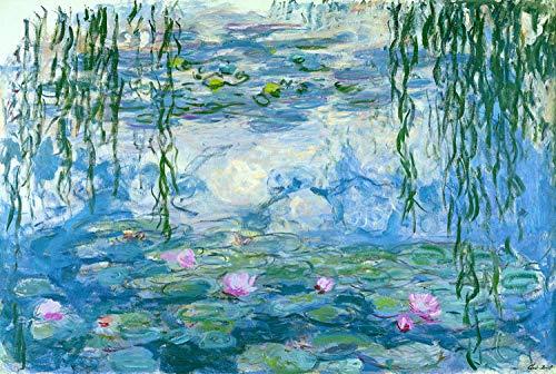 Pezzo adulto Puzzle di legno Giocattolo Pittore Sunrise Impression-Army Green Water Lily Pezzi di salice piangente 1000 compresse senza cornice